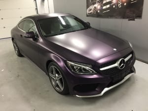 Mercedes C Coupe Wrap Mat Paars Matt Midnight Purple Metallic-4